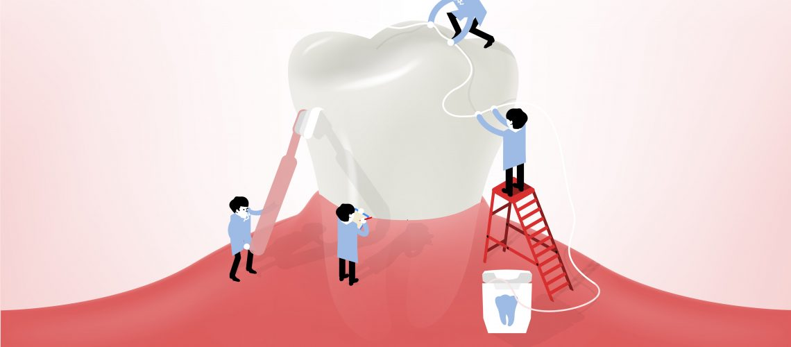 Cartoon of 4 people cleaning a huge tooth